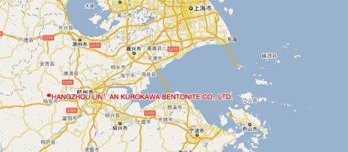 Contact Us Hangzhou Linan Kurokawa Bentonite CoLtd - Bentonite us map